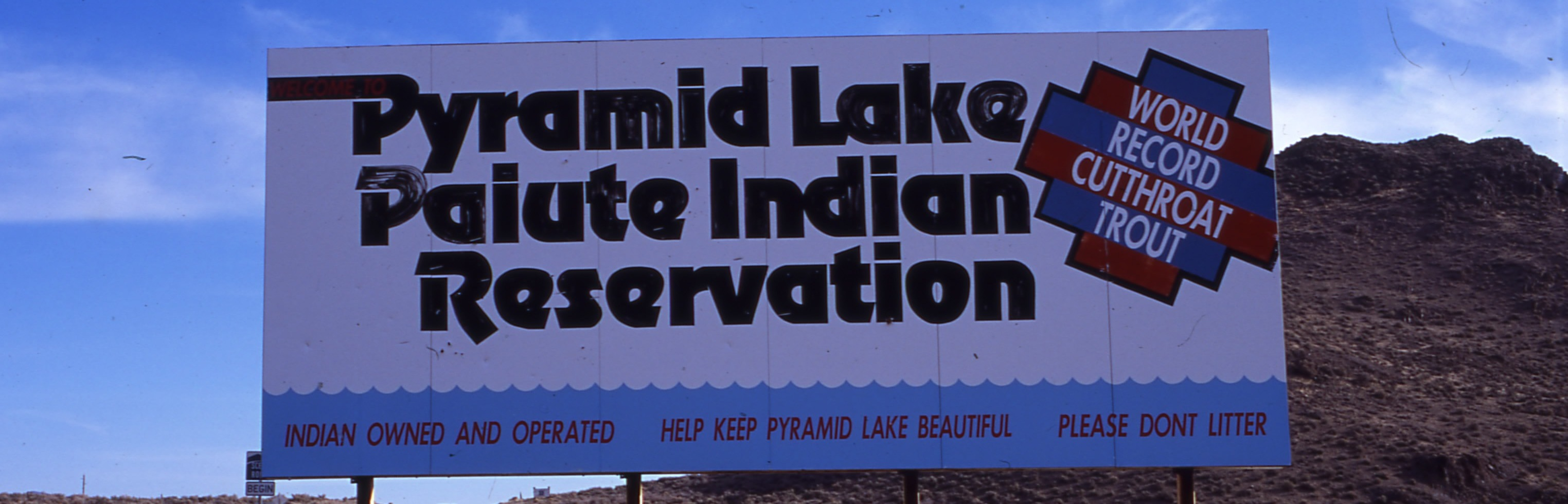 Pyramid Lake Welcome Sign